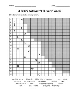 A Child's Calendar February Puzzle and Word Search