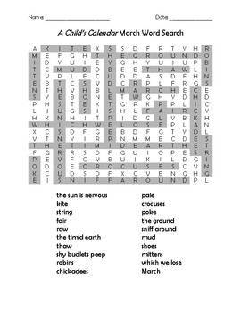 A Child's Calendar March Word Search