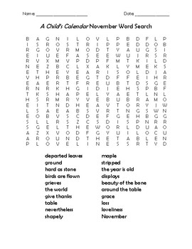 A Child S Calendar November Word Search By Teacher Chip S School Store