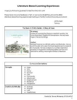 A Child's Garden Full Unit - Literature-Based Learning Experiences