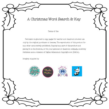 FREE A Christmas Freebie Word Search & Key Worksheet
