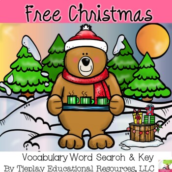 FREE A Christmas Freebie Word Search & Key Worksheet
