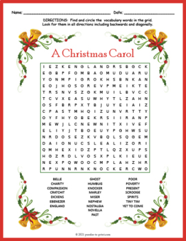 A Christmas Carol Word Search Puzzle