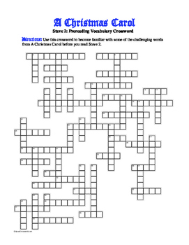 A Christmas Carol Stave 2: 50-word Prereading Xword—Great Preparation!