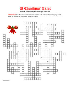 A Christmas Carol: 50-Word Prereading Xword—Stave 1—Great Preparation!