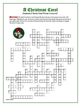 A Christmas Carol: 50 Outdated or Rarely Used Words Crossword—Unique!
