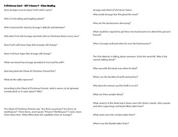 A Christmas Carol - Act 2 Scene 4 Questions -  Horovitz st