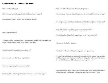 A Christmas Carol - Act 2 Scene 5 Questions -  Horovitz stage adaptation