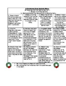 A Christmas Carol Activity packet