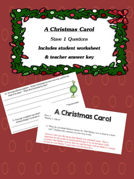 A Christmas Carol Stave 1 Questions