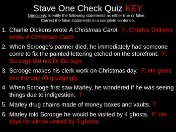 A Christmas Carol Chapter Check Quiz PPT