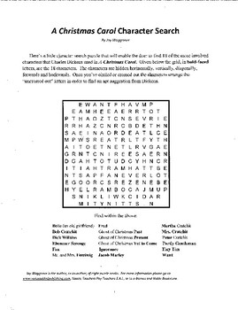 A Christmas Carol,Character Search puzzle,Charles Dickens