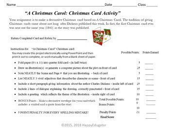 A Christmas Carol by Charles Dickens Christmas Card Project