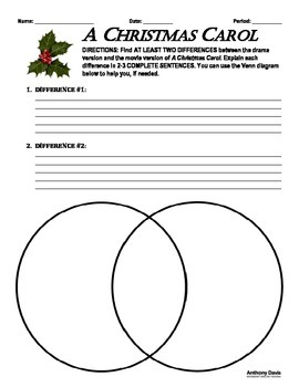 A Christmas Carol DRAMA-MOVIE COMPARE/CONTRAST ACTIVITY