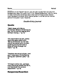 A Christmas Carol- Double Entry Journal