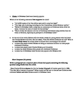 A Christmas Carol Informational Text and Quiz Common Core Aligned
