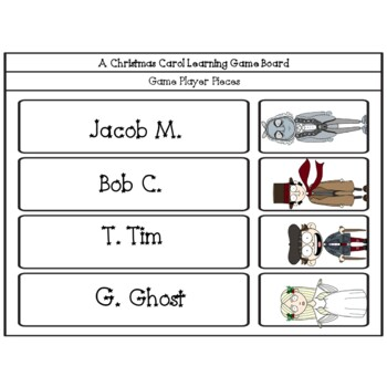 A Christmas Carol Litearcy Learning Game Board