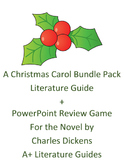A Christmas Carol Literature Guide + Power Point Review Game Bundle Pack