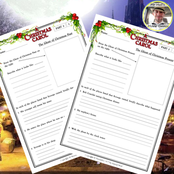 A Christmas Carol Movie Guide + Activities (Color + B/W) - Answer Key Included