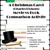 A Christmas Carol Movie vs. Book Comparison Activity (Char