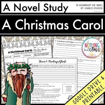 A Christmas Carol Novel Study Unit: comprehension, vocabulary, activities, tests