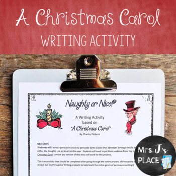 A Christmas Carol Persuasive Writing Activity