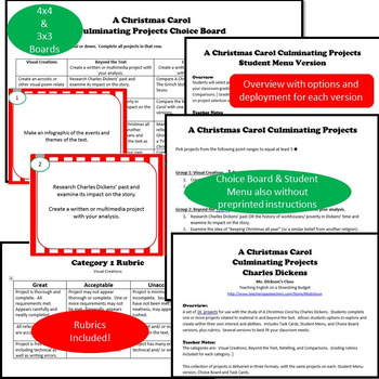 A Christmas Carol Culminating Projects [Task Cards] (Charles Dickens)