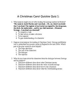 A Christmas Carol Quickie Quiz 1-5