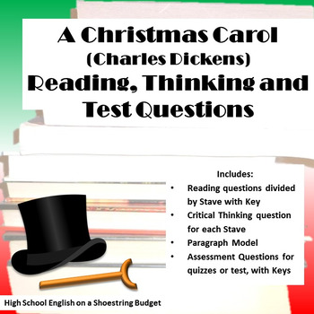 A Christmas Carol Reading, Thinking, Test Questions (Charles Dickens)