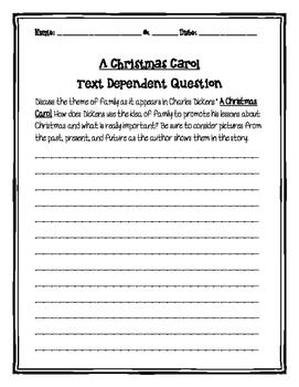A Christmas Carol Short Response and Essay Questions