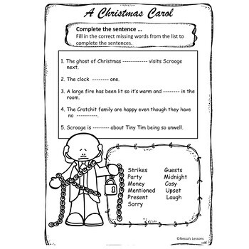 A Christmas Carol Stave 3 complete lesson for foundation level/spec ed.