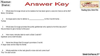 A Christmas Carol: Stave Five Reading Quiz