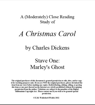 A Christmas Carol Stave One: A Close Reading Study (10 pages), Answer Keys