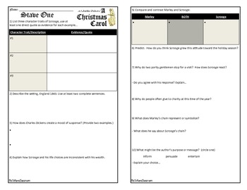 """A Christmas Carol"" - Stave Study Guide"