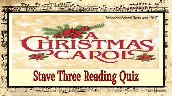 A Christmas Carol: Stave Three Reading Quiz
