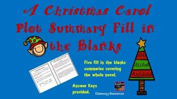 A Christmas Carol Summary Fill in the Blanks Worksheets