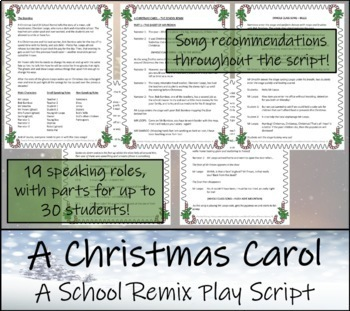 a christmas carol the school remix play script tpt - Christmas Carol Script