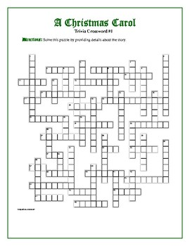 A Christmas Carol: 2 Trivia Crosswords—50 clues each! Great for competition!