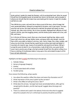 A Christmas Carol Worksheet about Poverty in Stave 4