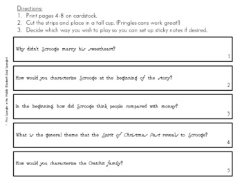 A Christmas Carol - ZAP game to review plot