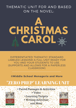 A Christmas Carol: ZERO PREP Thematic Unit (ALL You Need in 1 Place!)