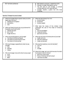 A Christmas Carol - by Charles Dickens - Reading Comprehension Worksheet