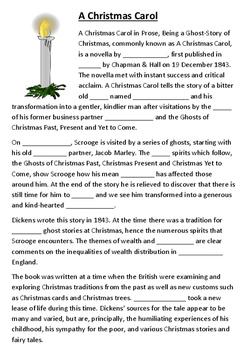 A Christmas Carol Cloze Activity