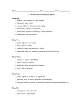 A Christmas Carol vocabulary packet