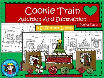 A+ Christmas Cookie Train Addition and Subtraction Differe