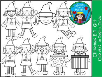 A+ Christmas Elf (Girl) Clip Art...Color And Black And White Included
