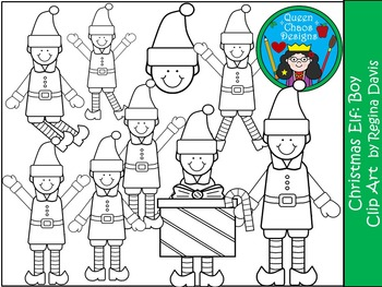 A+ Christmas Elf (Boy) Clip Art...Color And Black And White Included