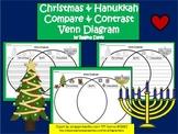 A+ Christmas & Hanukkah Venn Diagram...Compare and Contrast