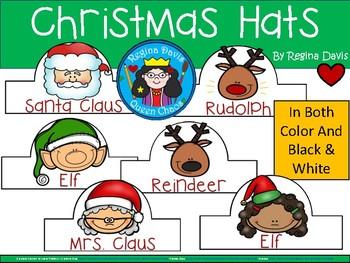 A+ Christmas Hats: Santa Claus, Reindeer, Mrs. Claus & Elf