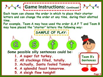 """Christmas Literacy """"Hands-On"""" Team Game For All Ages"""